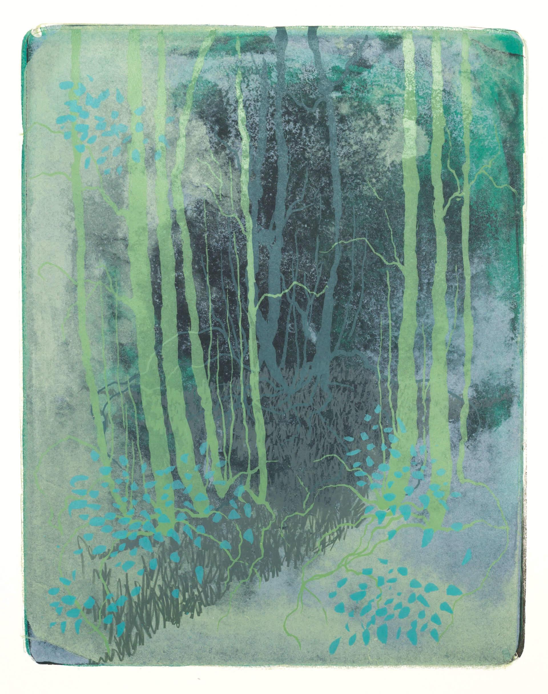 Wald X(K)-II, 2018, Farblithographie, Unikat, 50x40 cm.