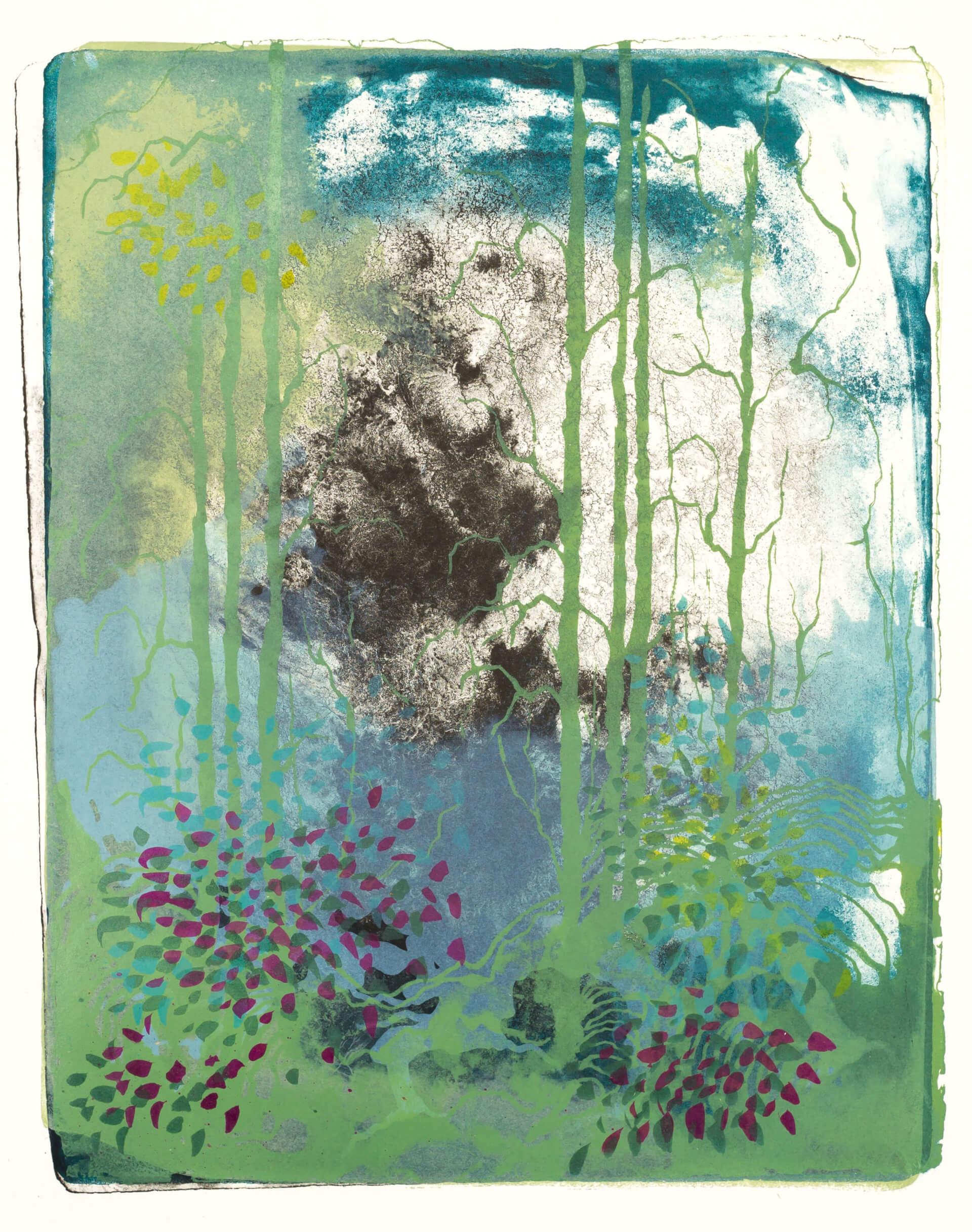 Wald X(K)-III, 2018, Farblithographie, Unikat, 50x40 cm.