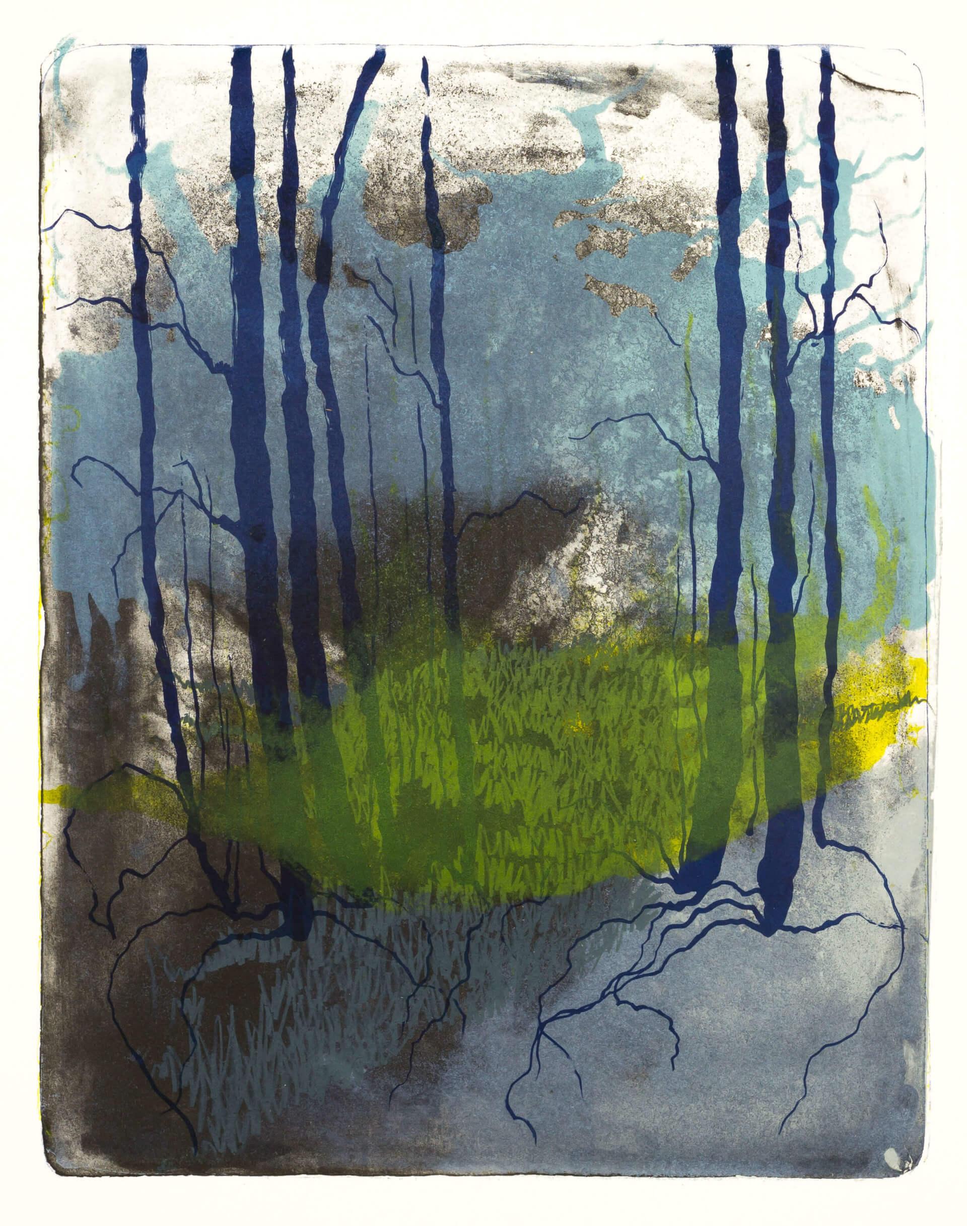 Wald X(K)-IV, 2018, Farblithographie, Unikat, 50x40 cm.