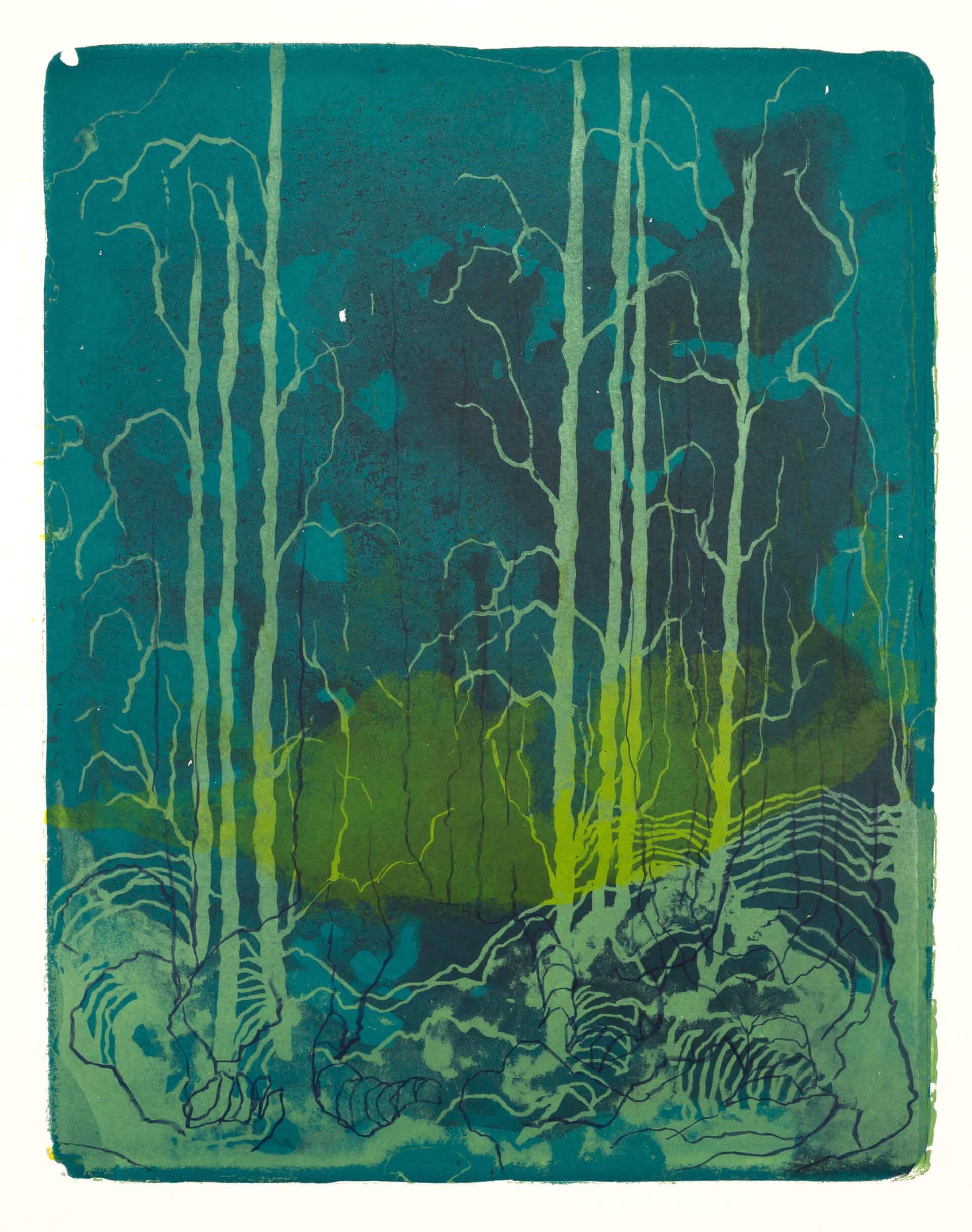 Wald X(K)-IX, 2018, Farblithographie, Unikat, 50x40 cm.
