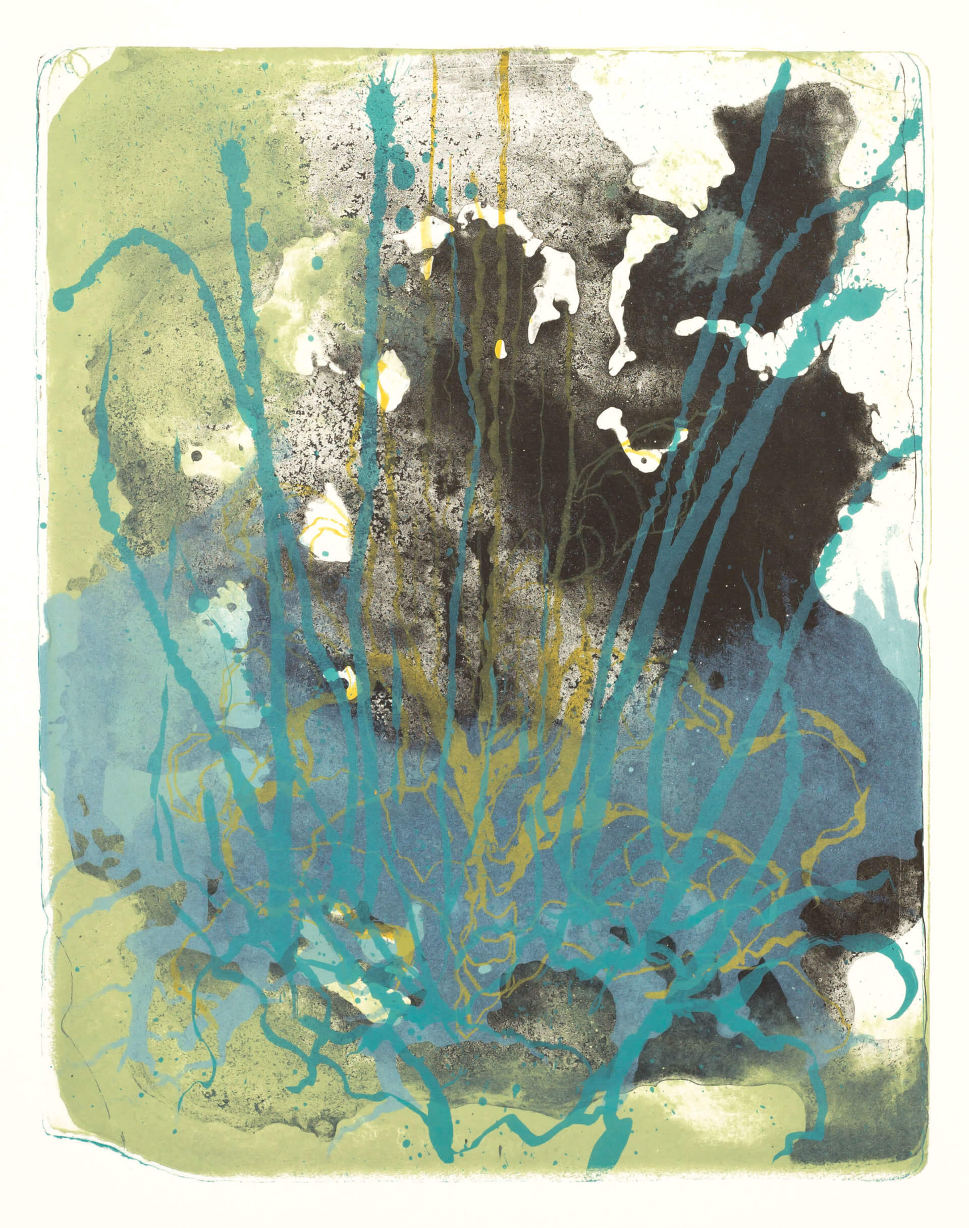 Wald X(K)-V, 2018, Farblithographie, Unikat, 50x40 cm.