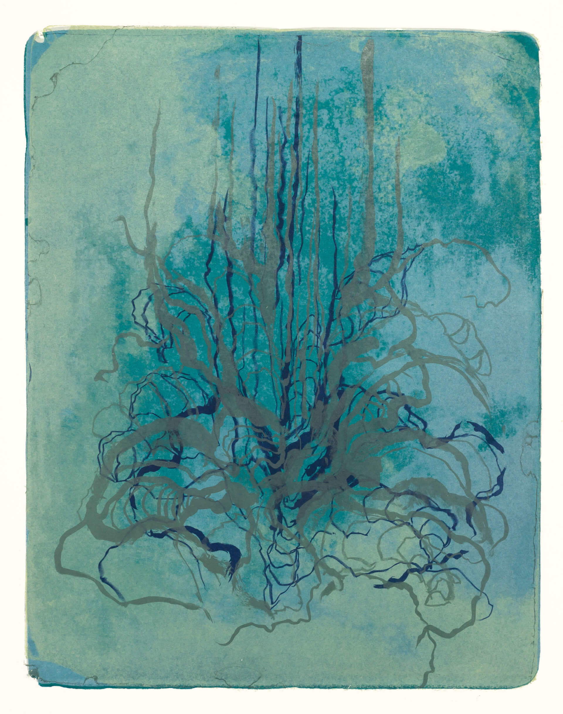 Wald X(K)-VII, 2018, Farblithographie, Unikat, 50x40 cm.