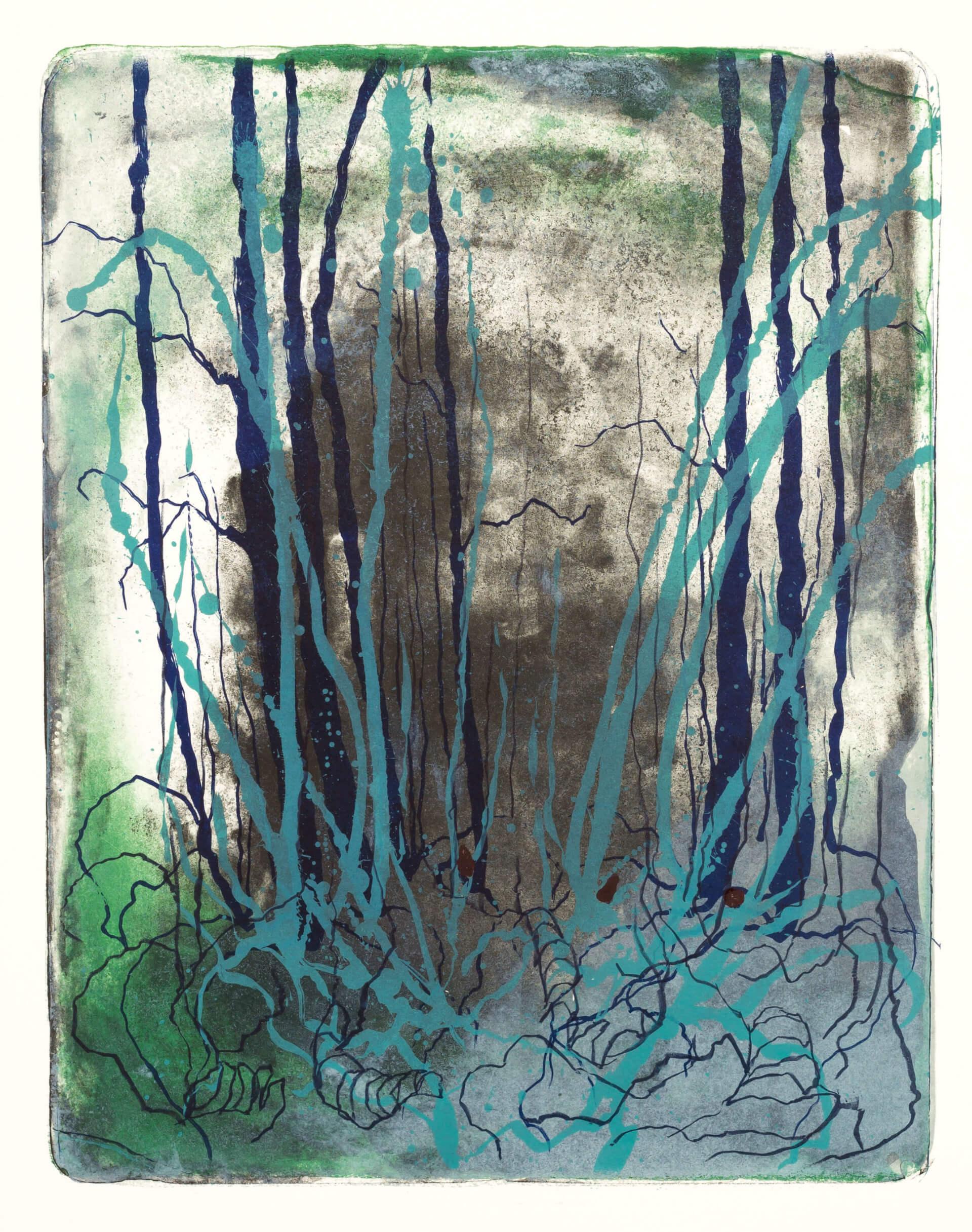 Wald X(K)-VIII, 2018, Farblithographie, Unikat, 50x40 cm.