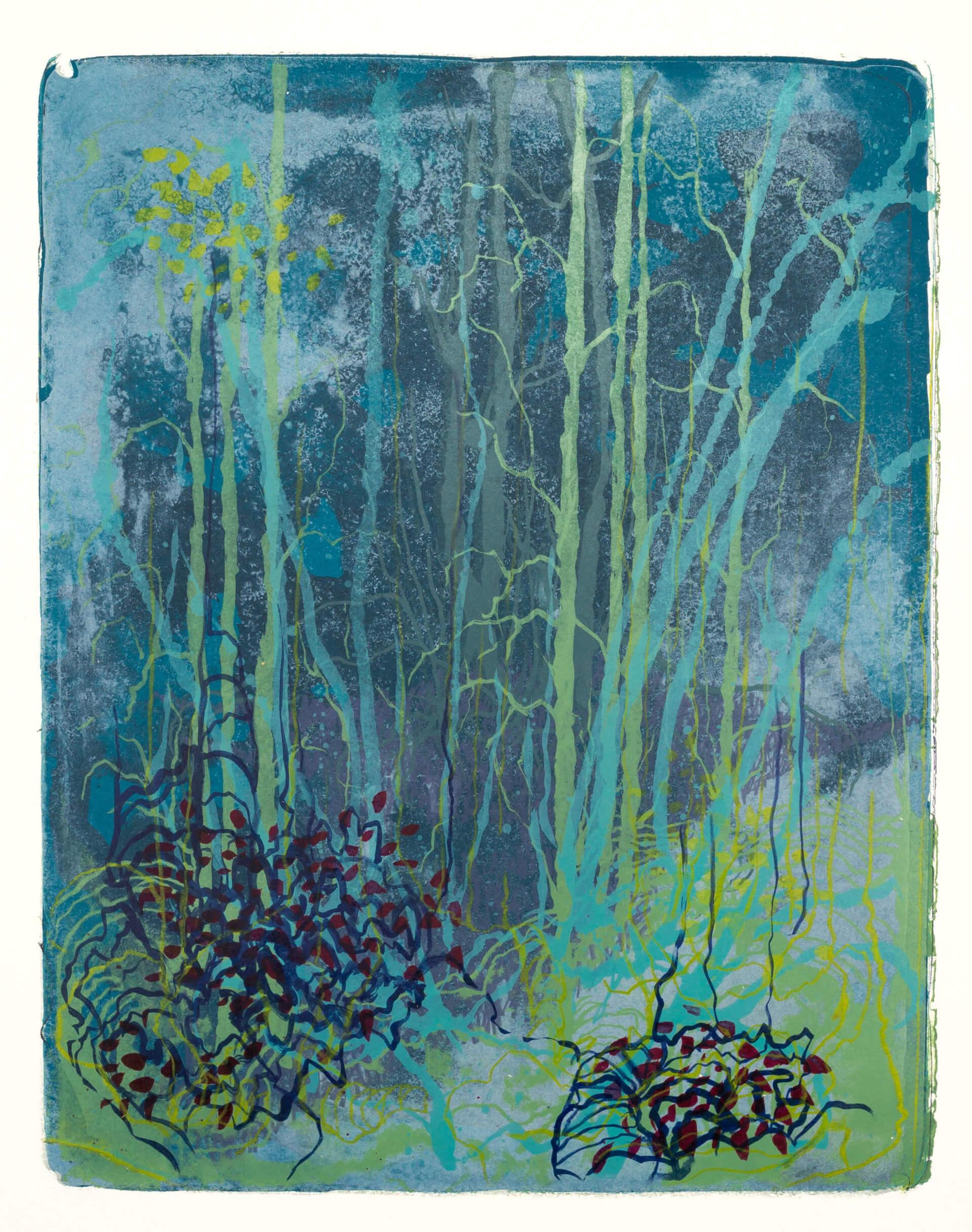 Wald X(K)-X, 2018, Farblithographie, Unikat, 50x40 cm.