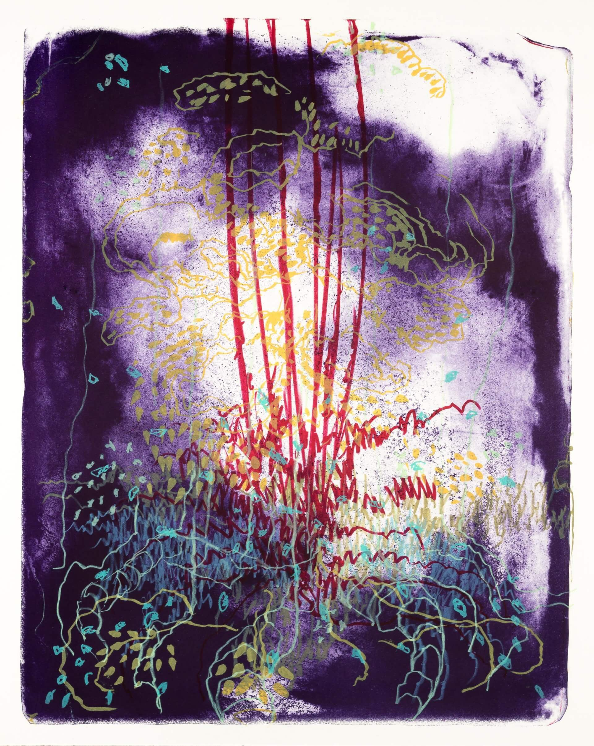 Wald X(D)-I, 2019, Farblithographie, Unikat, 50x40 cm