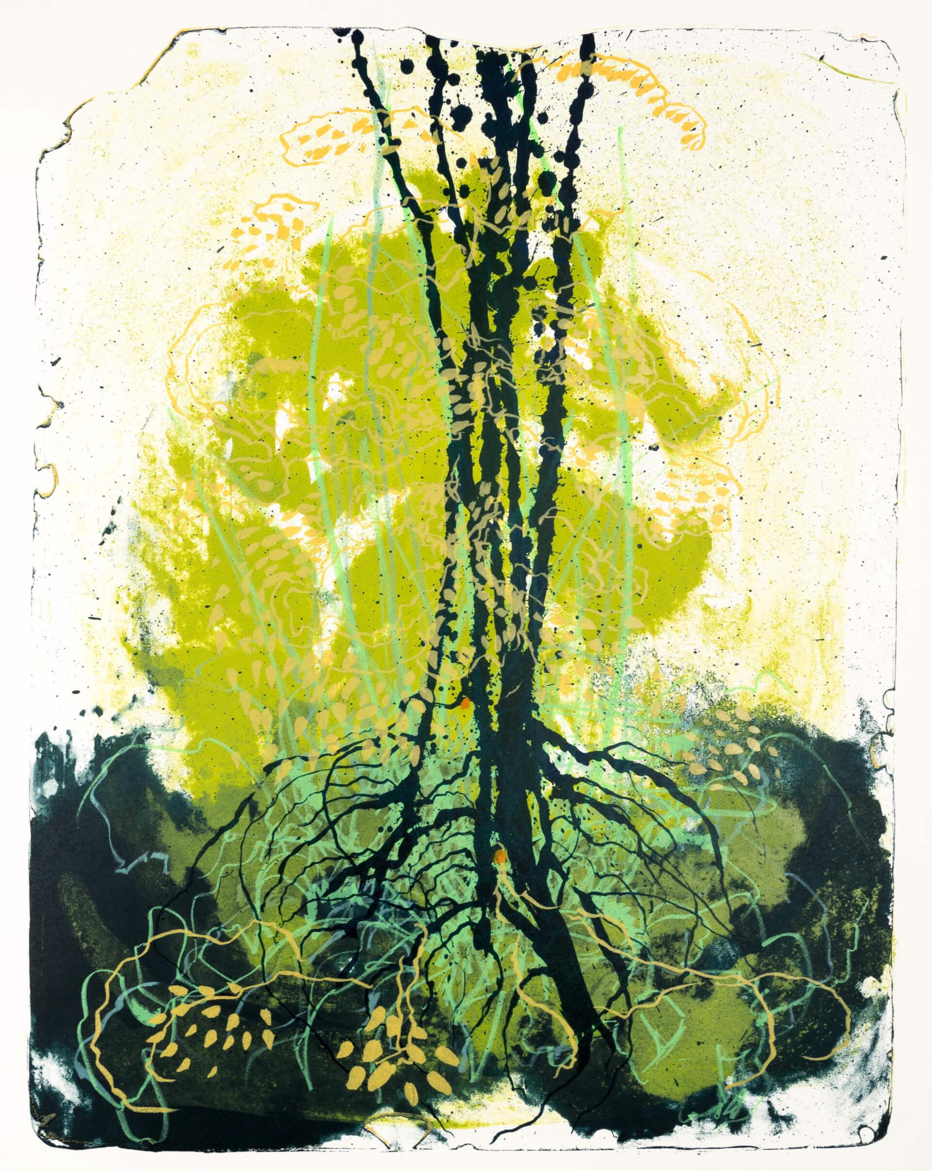 Wald X(D)-II, 2019, Farblithographie, Unikat, 50x40 cm