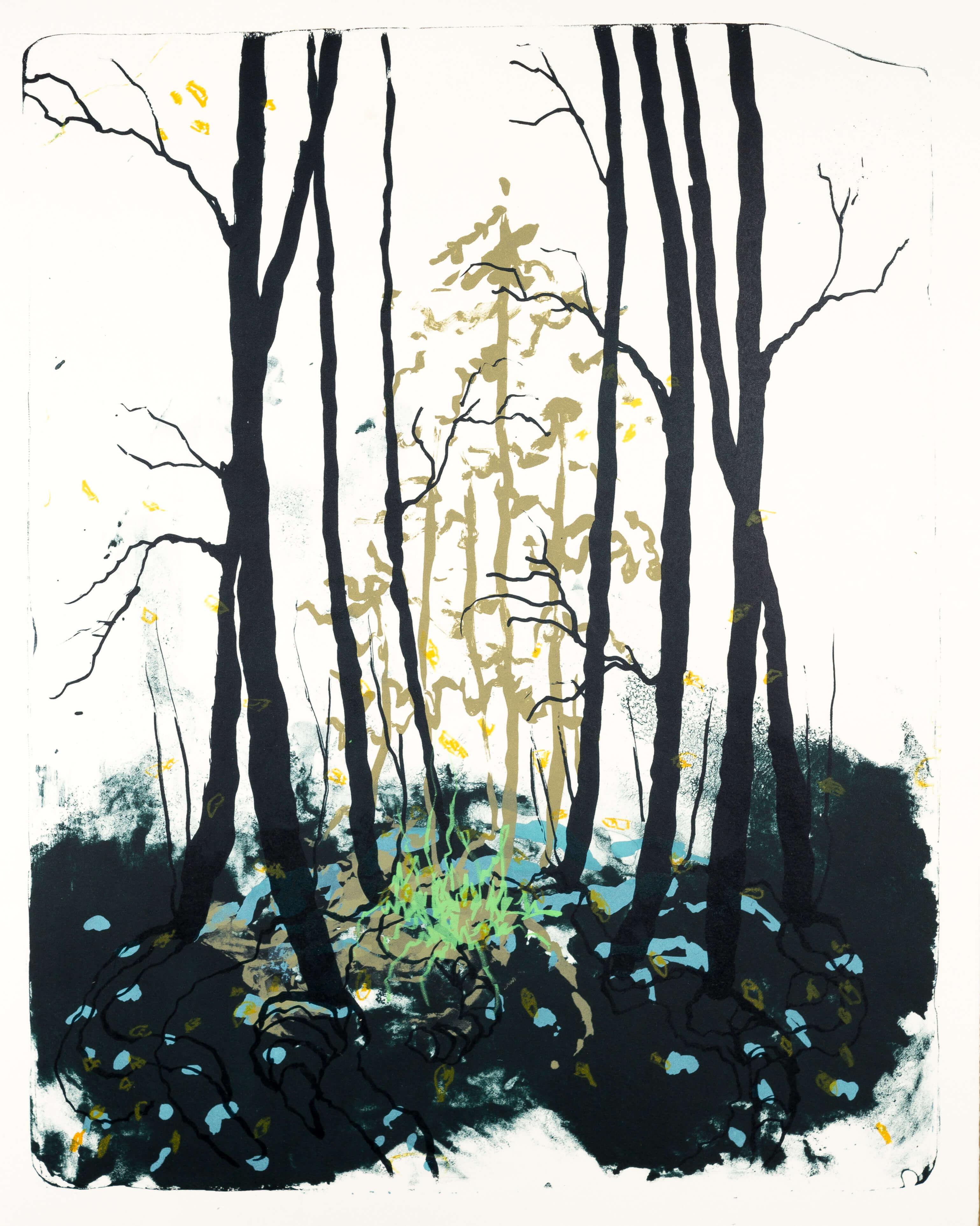 Wald X(D)-IV, 2019, Farblithographie, Unikat, 50x40 cm