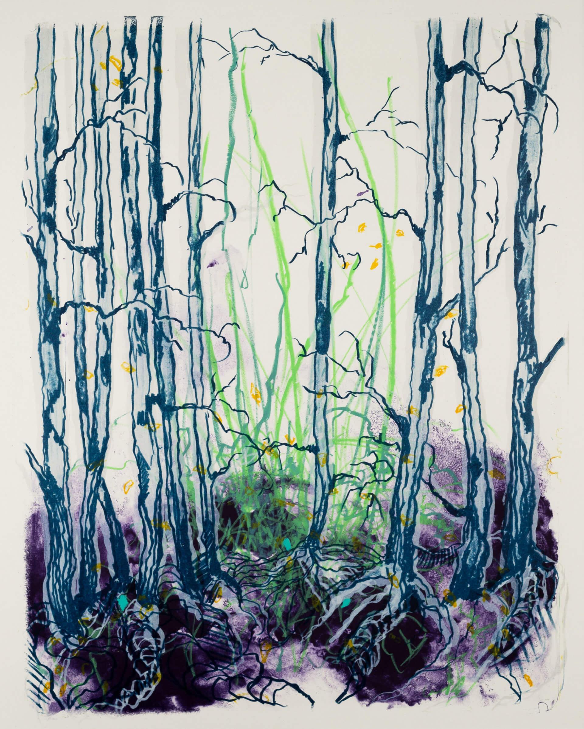 Wald X(D)-IX, 2019, Farblithographie, Unikat, 50x40 cm