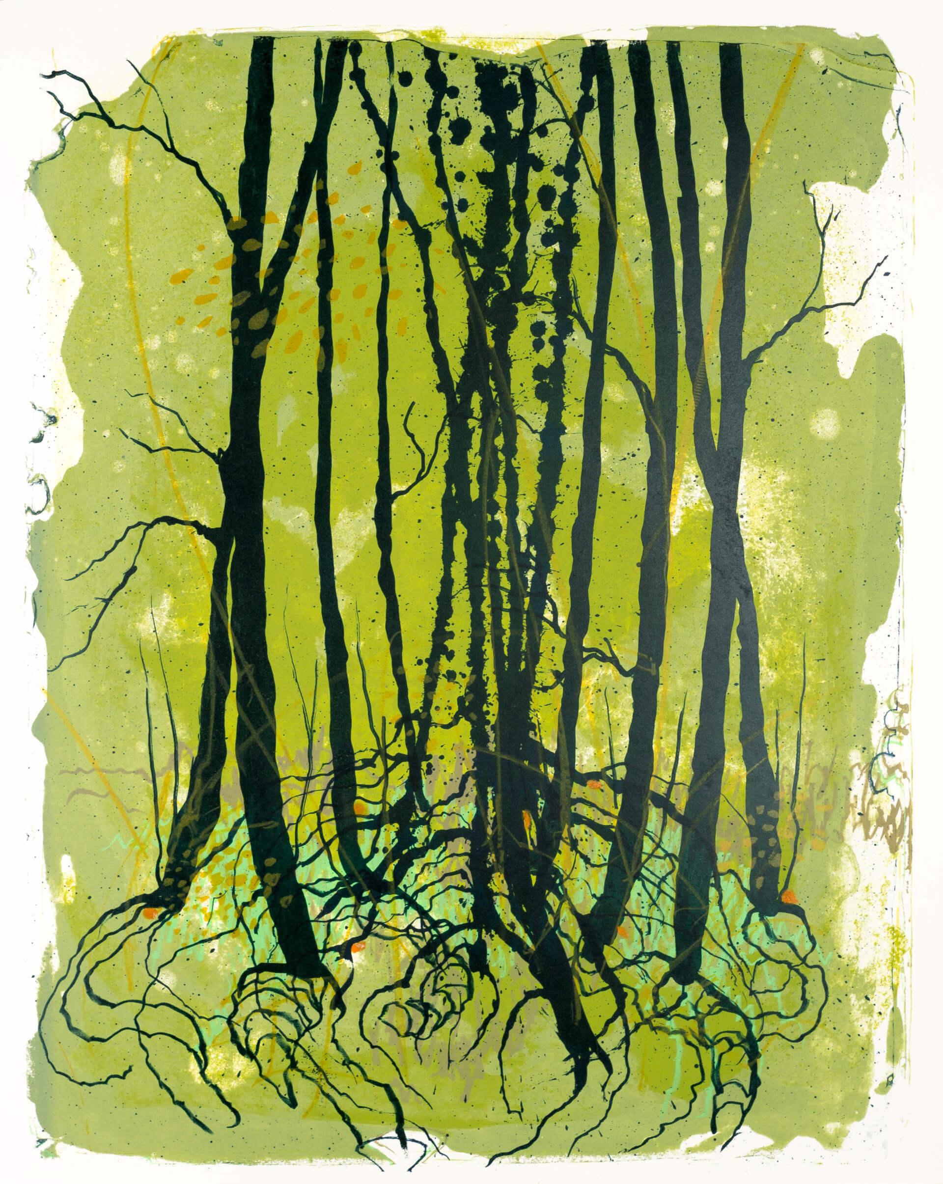 Wald X(D)-V, 2019, Farblithographie, Unikat, 50x40 cm