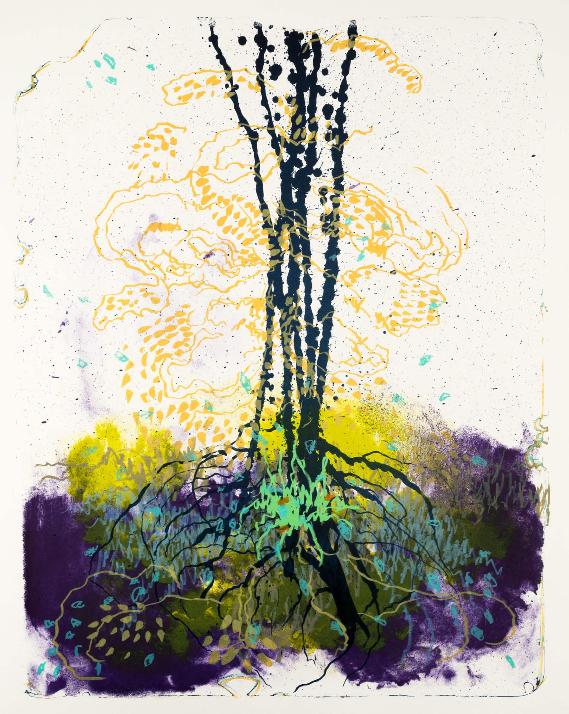 Wald X(D)-VII, 2019, Farblithographie, Unikat, 50x40 cm