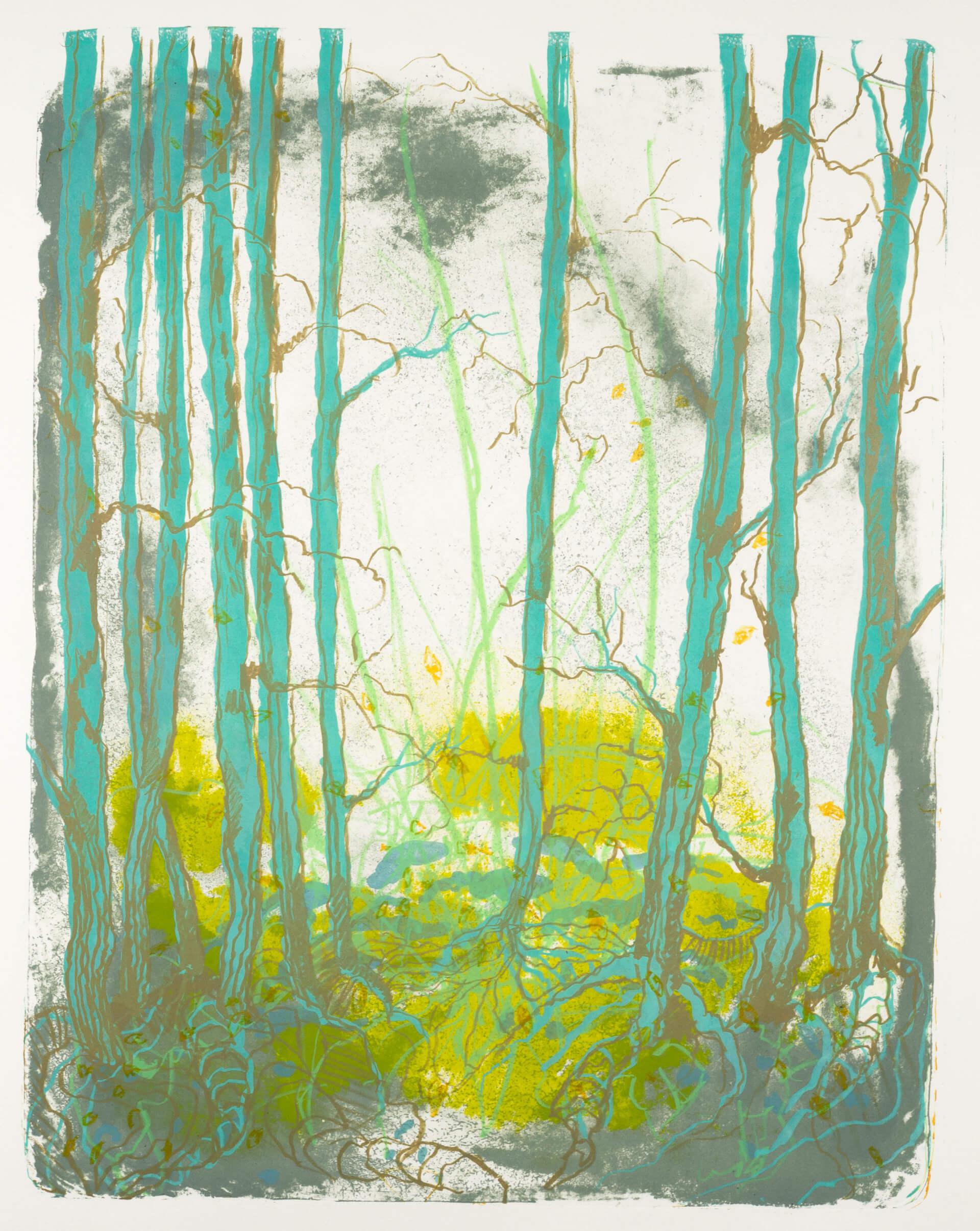 Wald X(D)-X, 2019, Farblithographie, Unikat, 50x40 cm