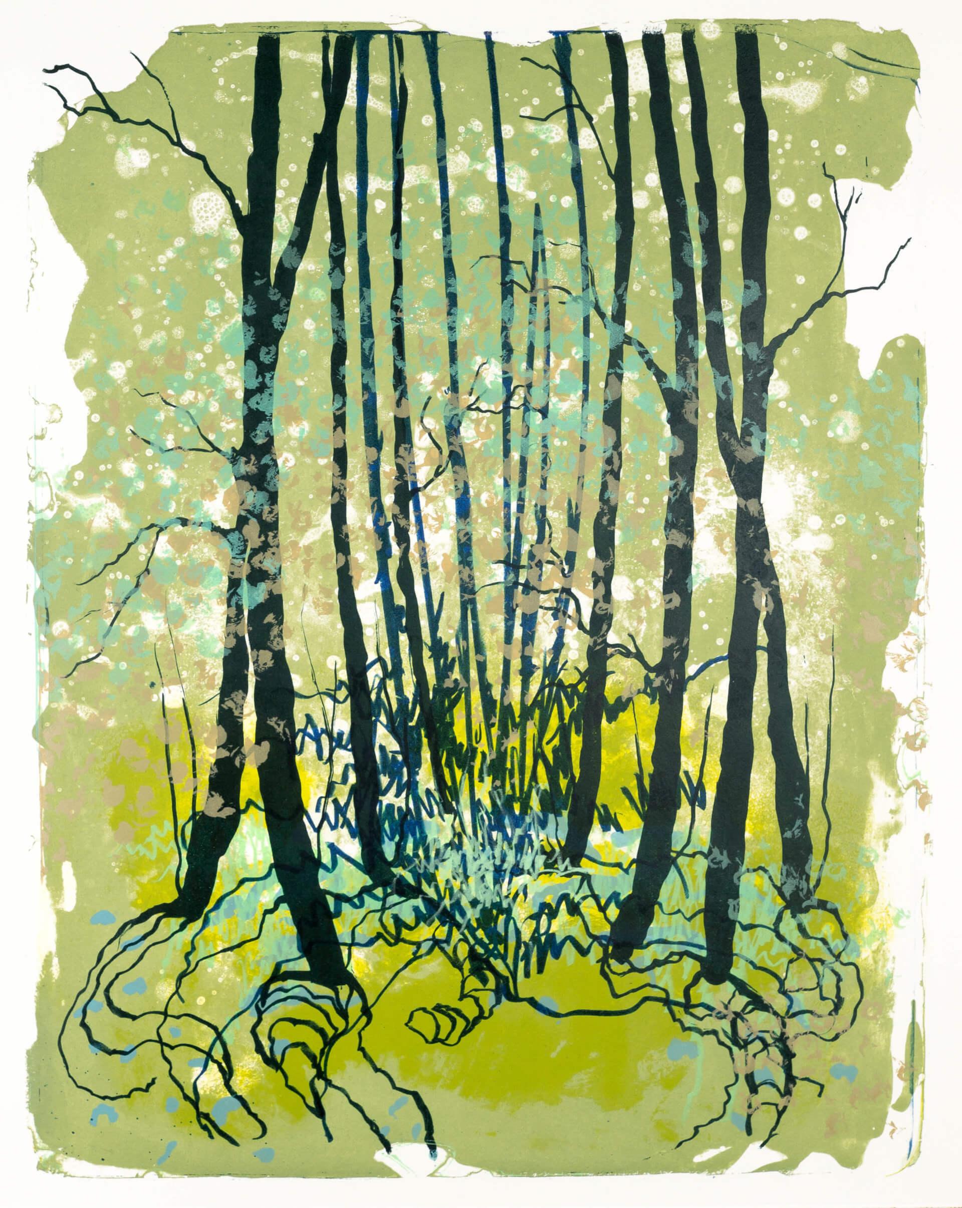 Wald X(D)-XII, 2019, Farblithographie, Unikat, 50x40 cm