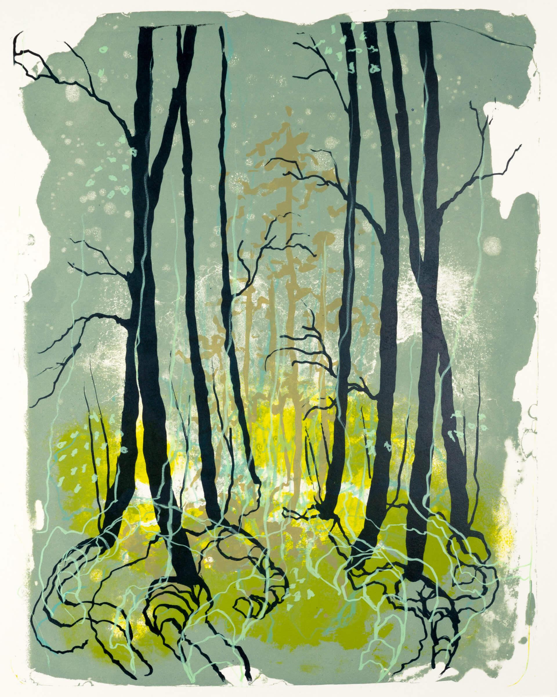 Wald X(D)-XIV, 2019, Farblithographie, Unikat, 50x40 cm