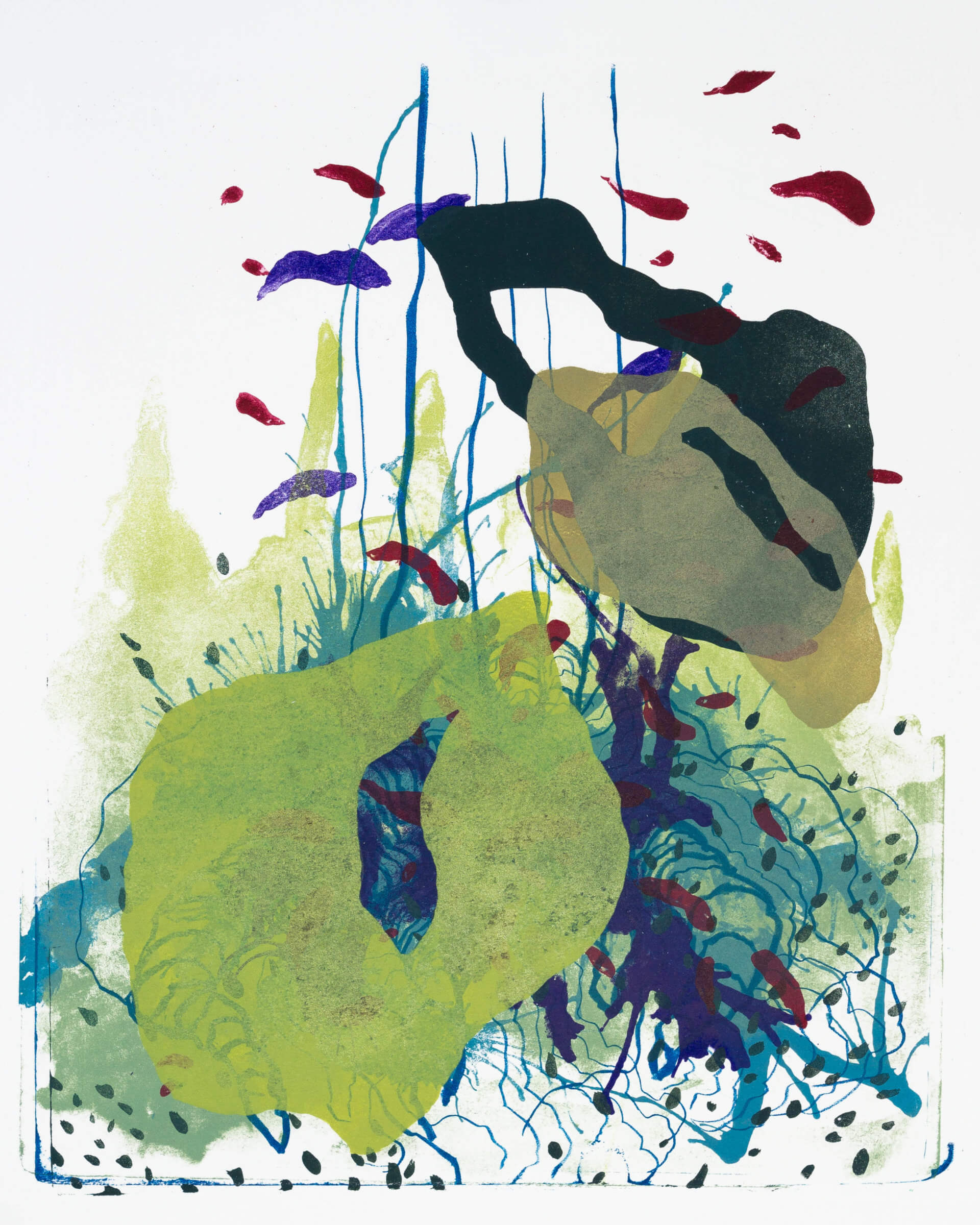 Wald X(S)-I, 2020, Farblithographie, Unikat, 50x40 cm