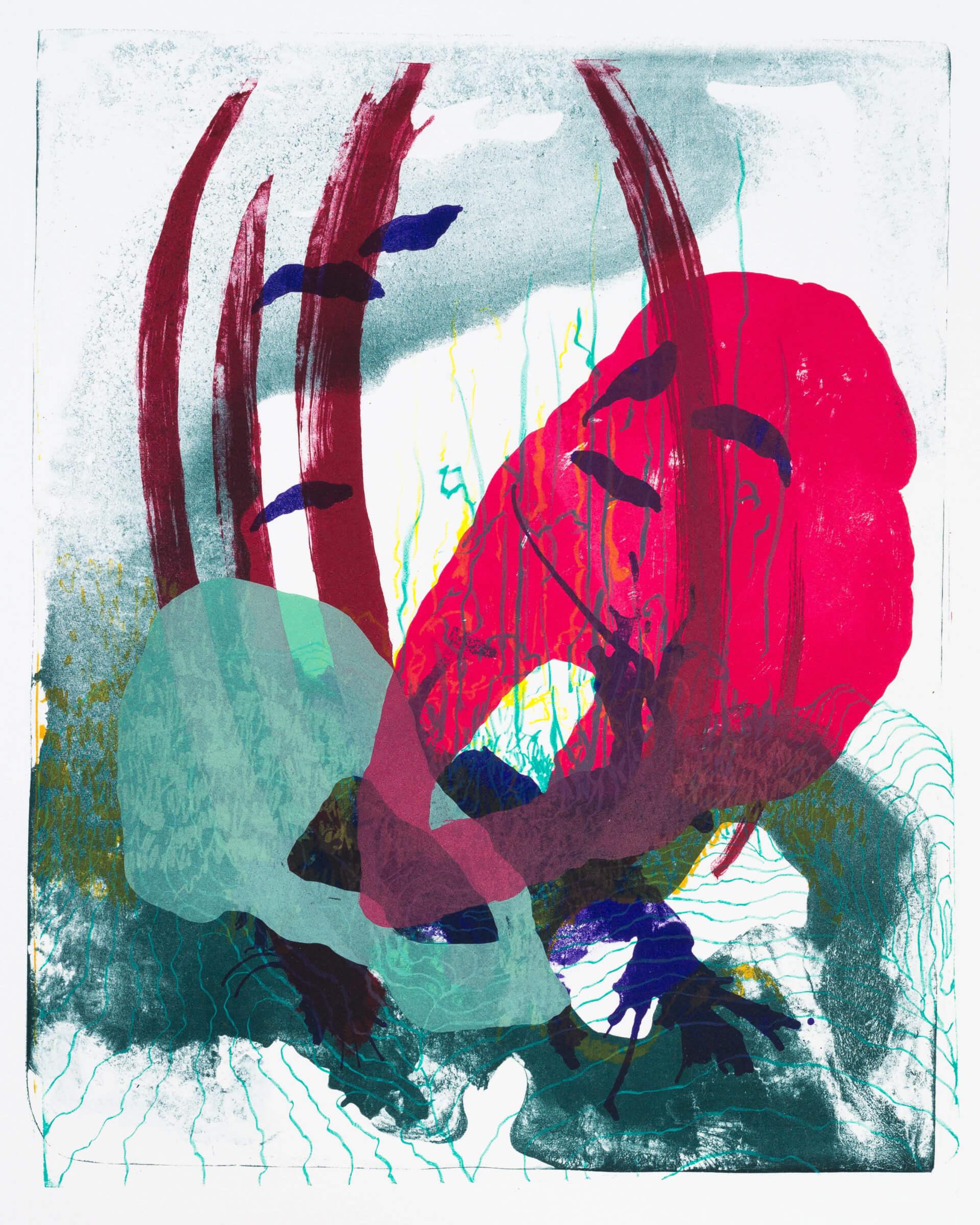 Wald X(S)-II, 2020, Farblithographie, Unikat, 50x40 cm