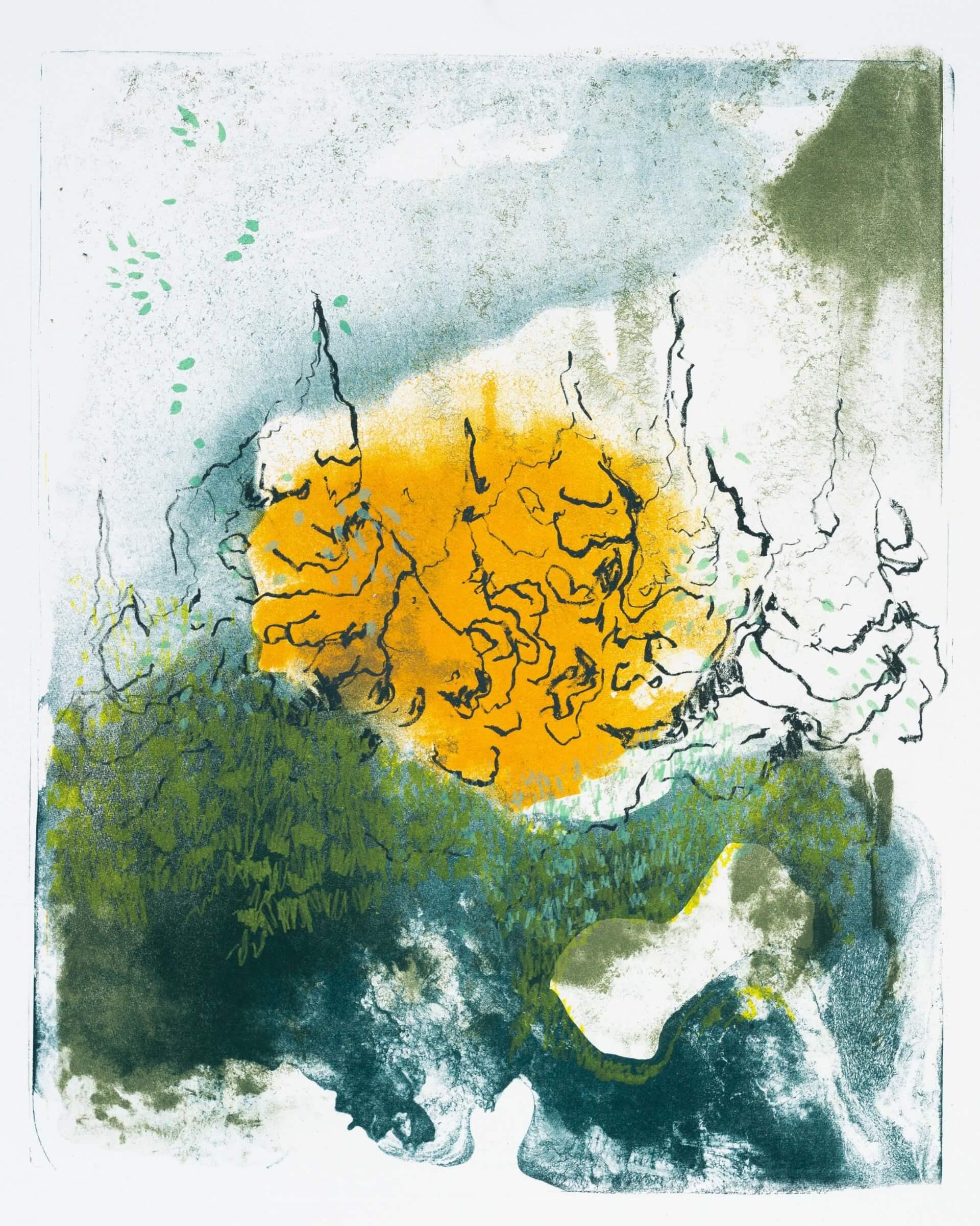 Wald X(S)-IV, 2020, Farblithographie, Unikat, 50x40 cm