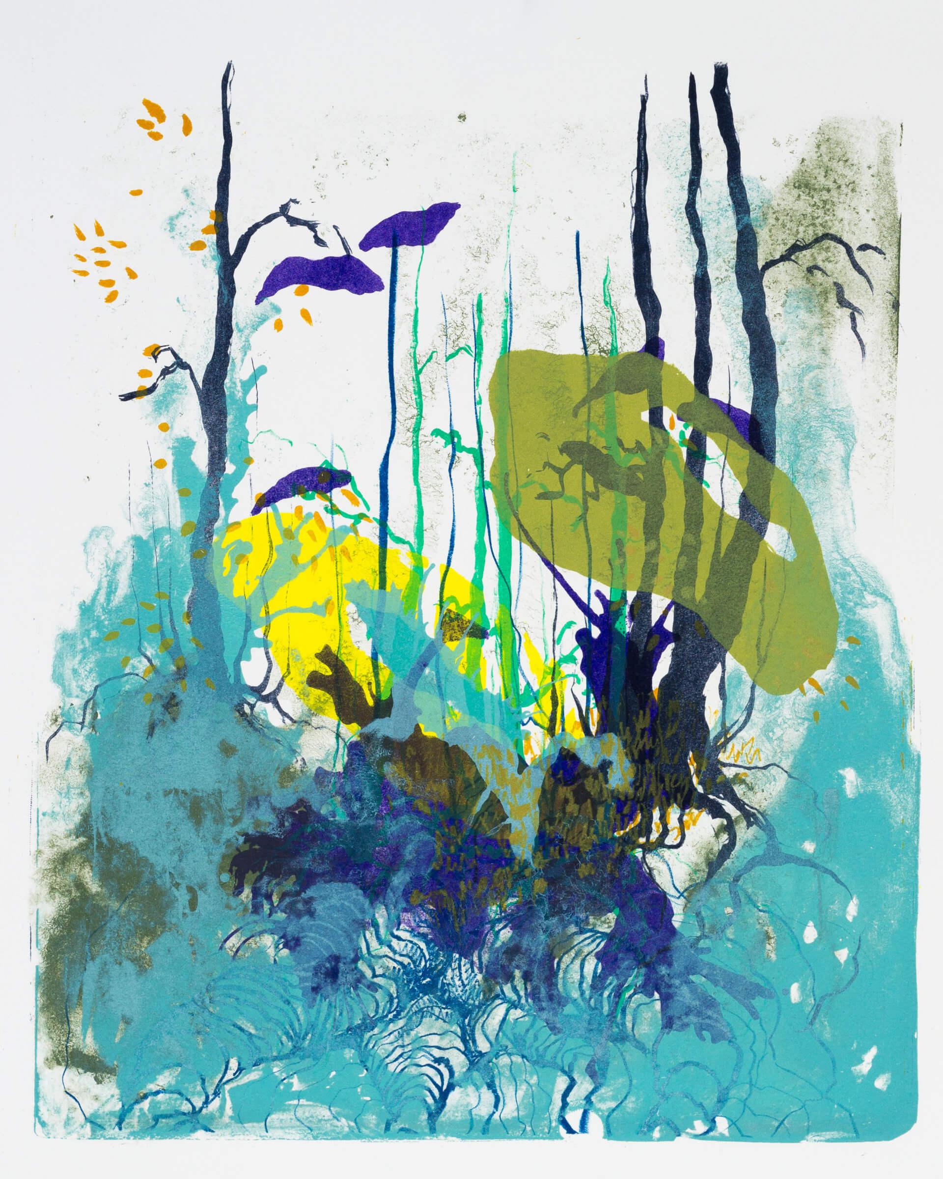 Wald X(S)-IX, 2020, Farblithographie, Unikat, 50x40 cm