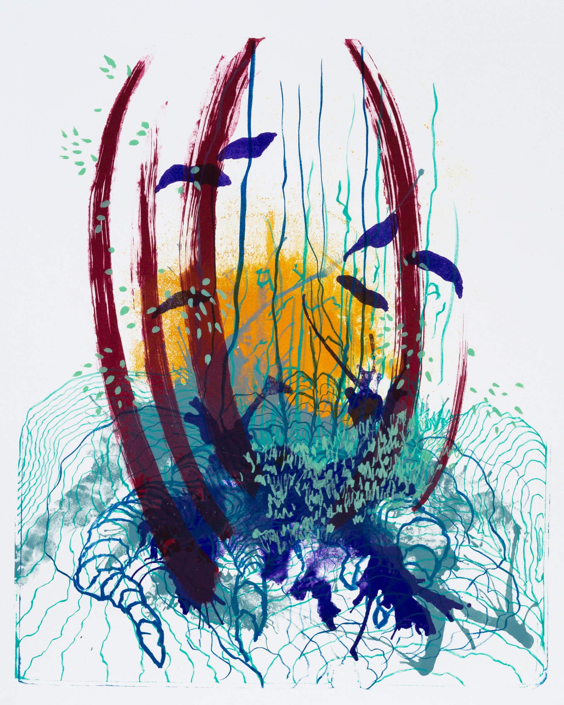 Wald X(S)-VI, 2020, Farblithographie, Unikat, 50x40 cm