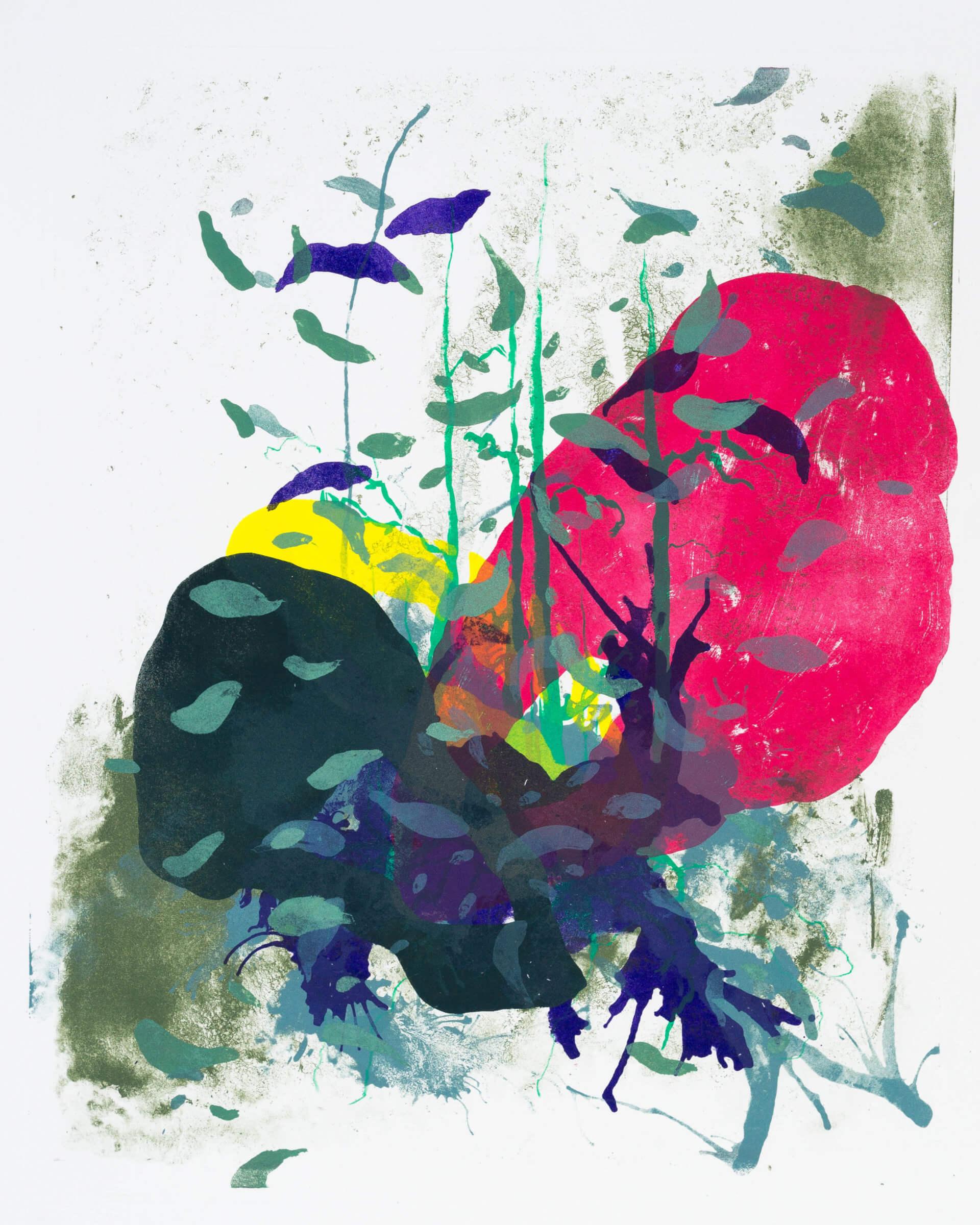 Wald X(S)-VII, 2020, Farblithographie, Unikat, 50x40 cm