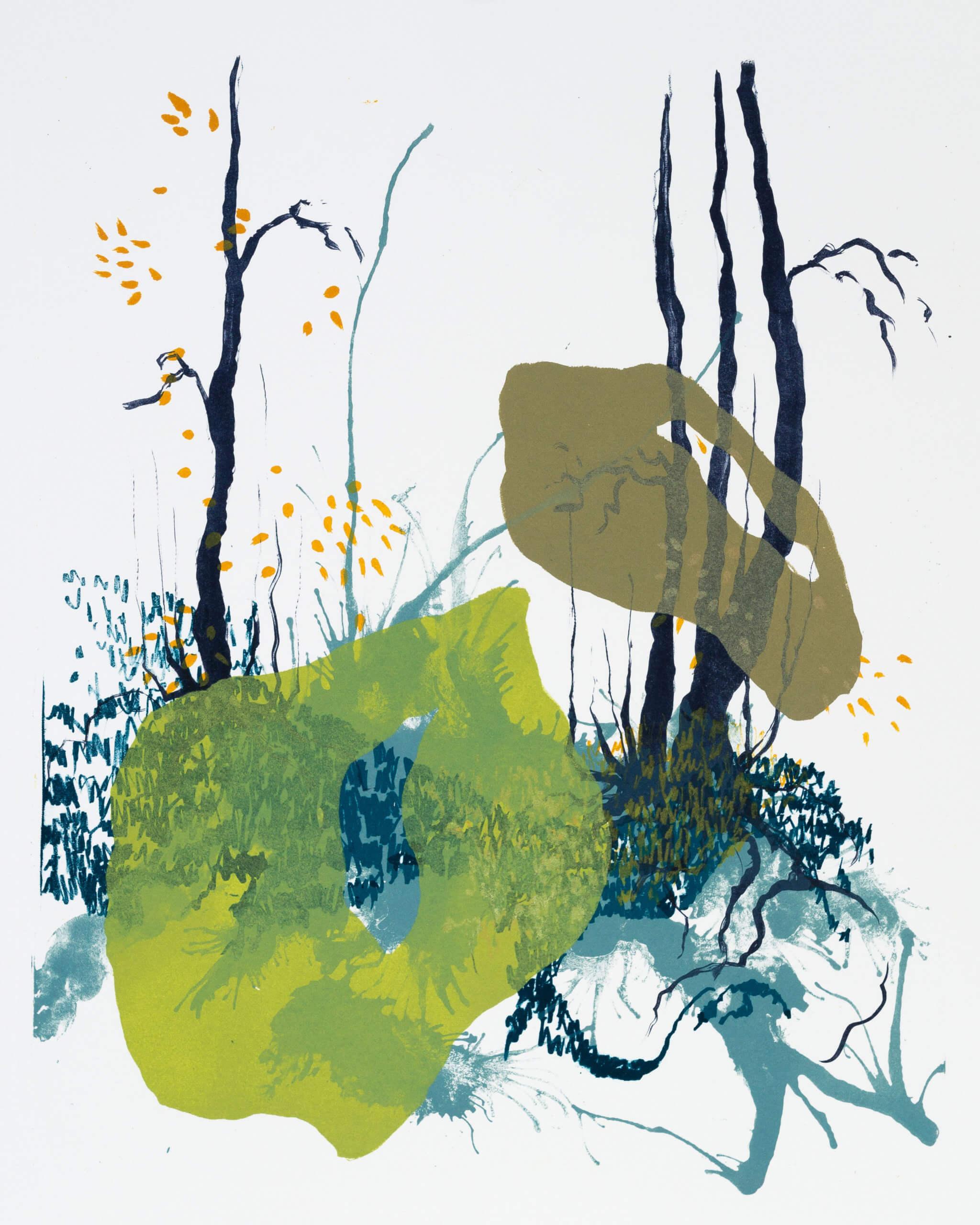 Wald X(S)-X, 2020, Farblithographie, Unikat, 50x40 cm
